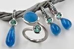 Conjunto de turmalina, aguamarina y brillante azul